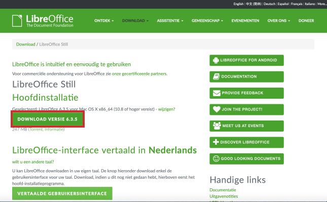LibreOffice downloaden via website met knop Download versie x.x.x.