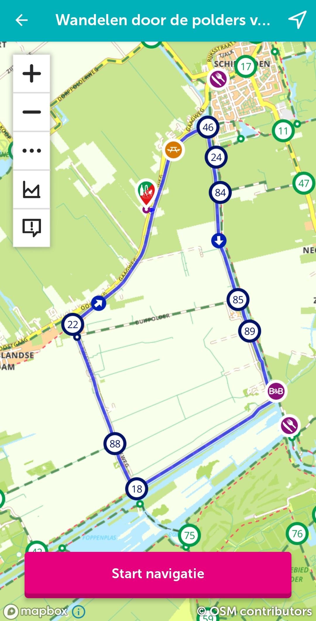 Voorbeeld wandelroute van Route.nl