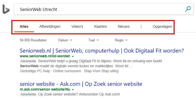 Categorieën in Bing
