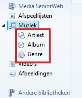 Windows Media Player muziekcollectie