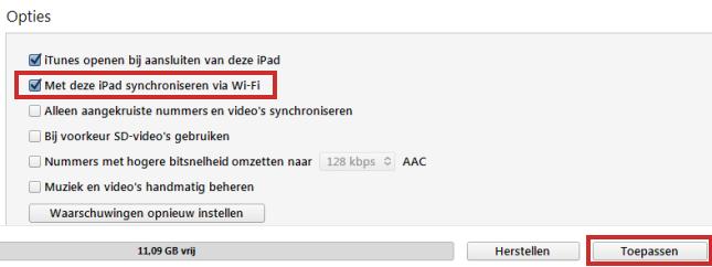 iPad draadloos synchroniseren met iTunes