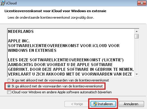 Licentieovereenkomst voor iCloud