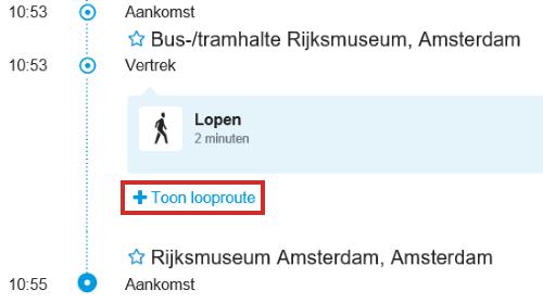 Looproute tonen op 9292.nl