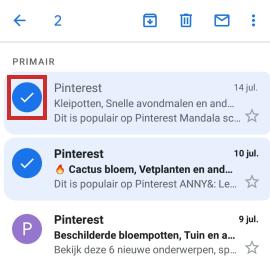 E-mails weggooien