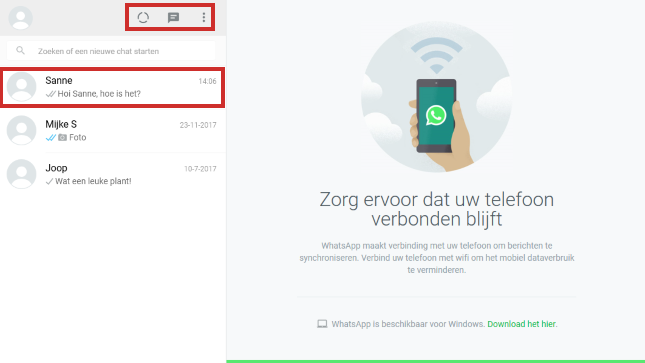 Beginscherm van WhatsApp