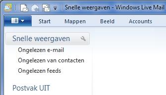 Windows Live Mail - blauwe balk
