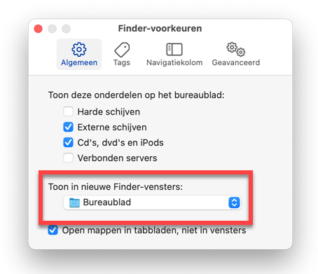 Standaardmap in Finder