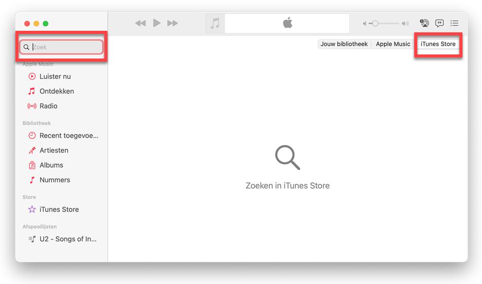 Muziek zoeken in iTunes Store