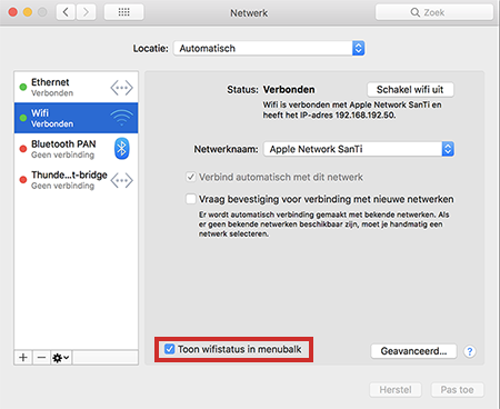 Wifi-netwerk in menubalk