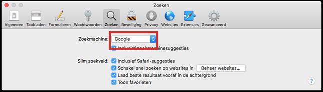 De zoekmachine in Safari wijzigen