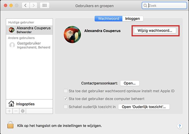 Wachtwoord wijzigen op de Mac