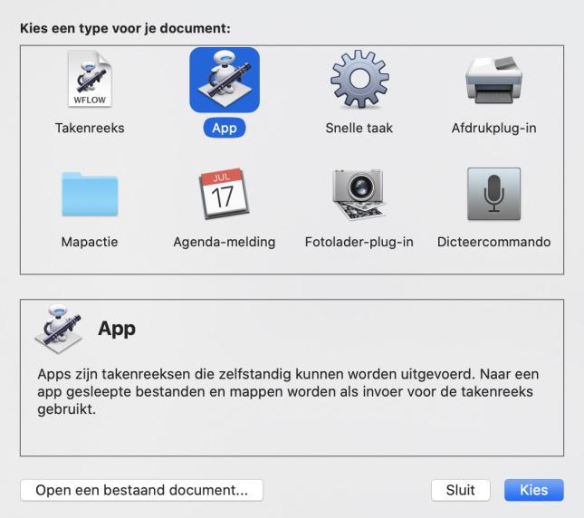 Apps kiezen in Automator