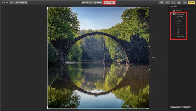 Foto bijsnijden in app Foto's