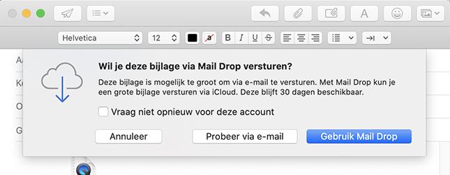 Grote bestanden versturen Mail Drop