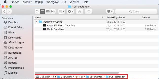 Kruimelpad op Mac gebruiken