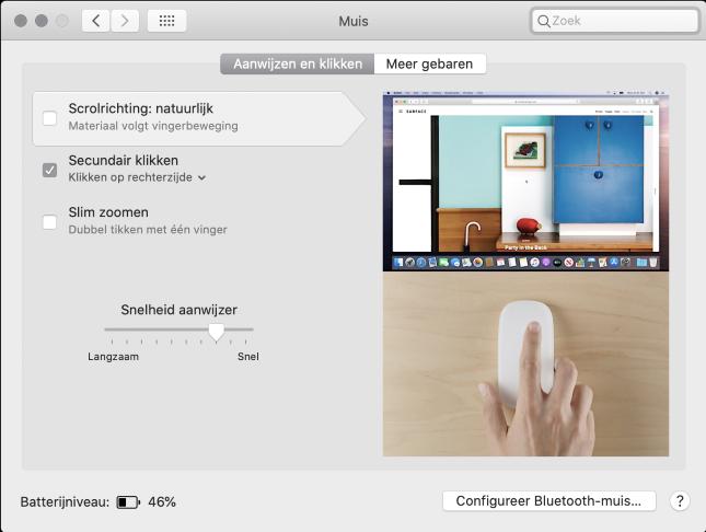 Instellingen Magic Mouse op Mac