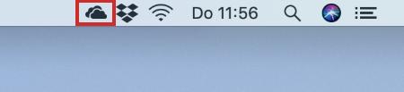 Pictogram OneDrive in menubalk Mac