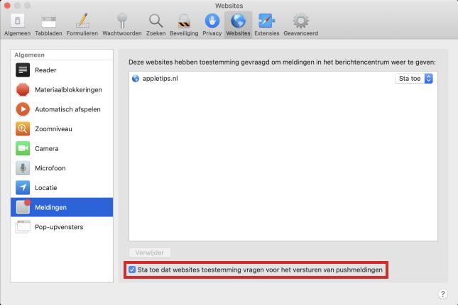 Geen toestemmingsverzoeken ontvangen op Mac