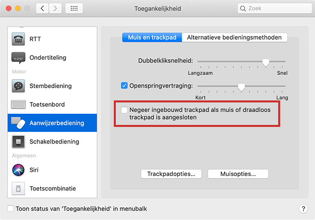 Trackpad op MacBook uitzetten via Systeemvoorkeuren