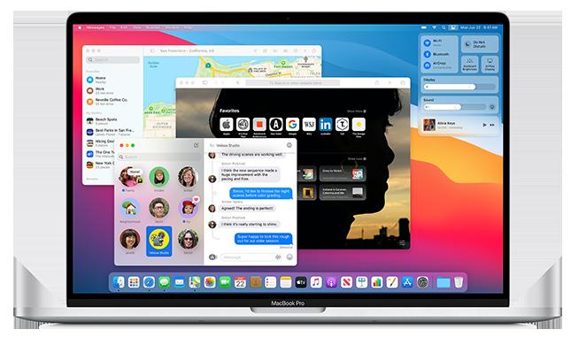 Aangepast uiterlijk Dock en menu's in macOS 11 Big Sur