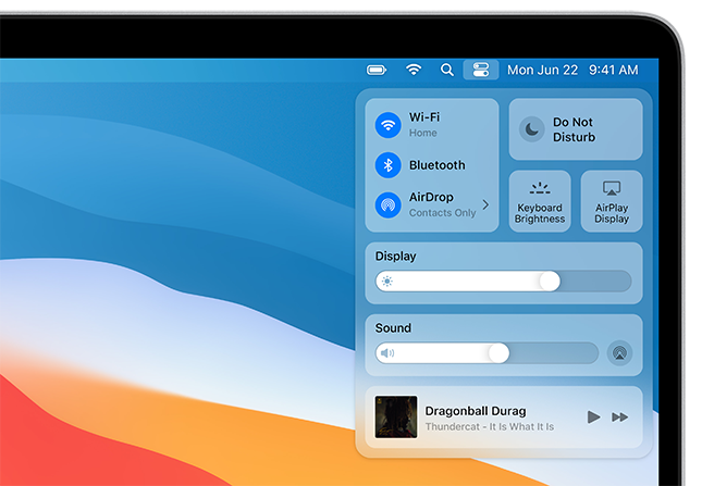 Toevoeging van bedieningspaneel in macOS 11 Big Sur