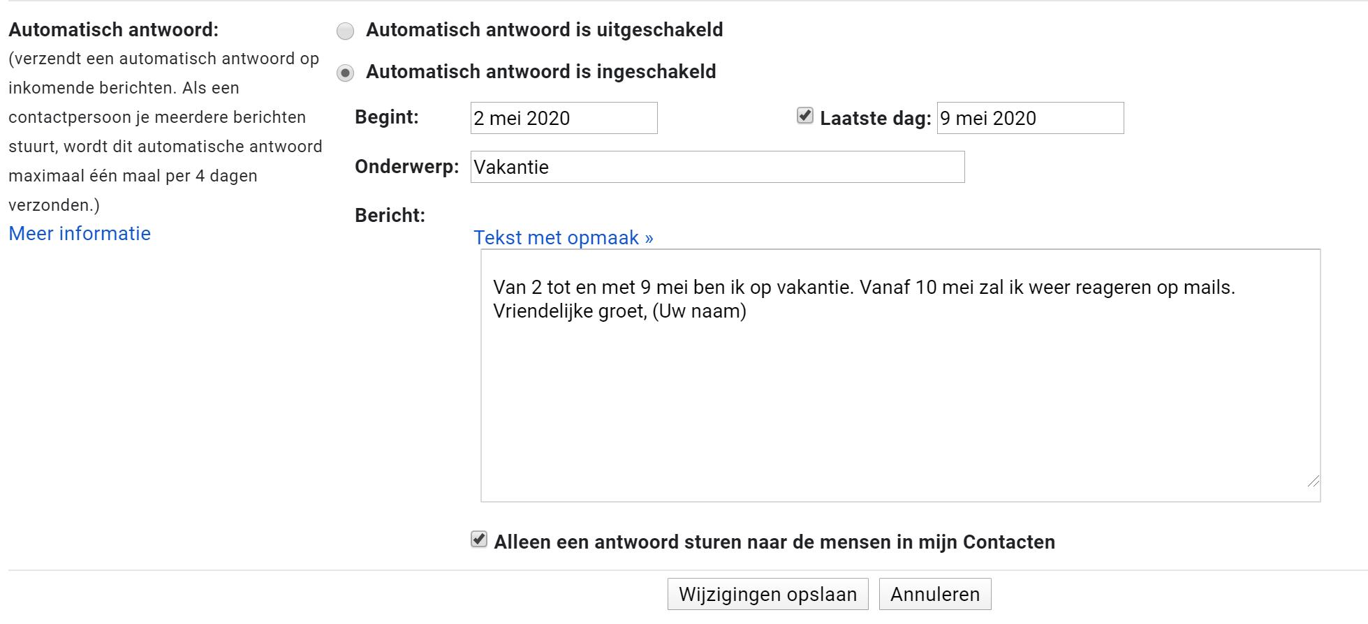 Afwezigheidsmelding instellen in Gmail