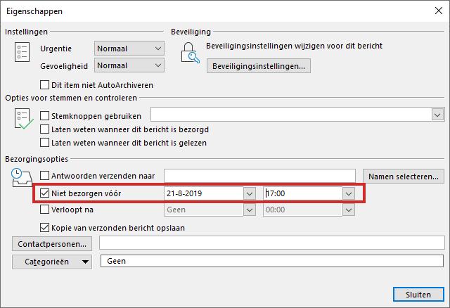Instellen wanneer een e-mail via Outlook verstuurd wordt