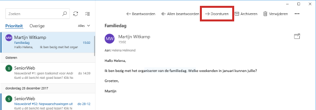 Mail Windows 10 doorsturen