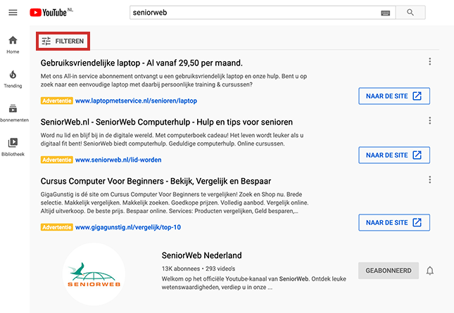 Filteren van zoekresultaten YouTube