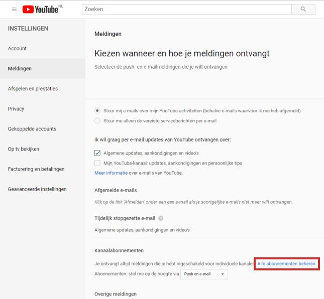 Mailnotificatie aanpassen in YouTube