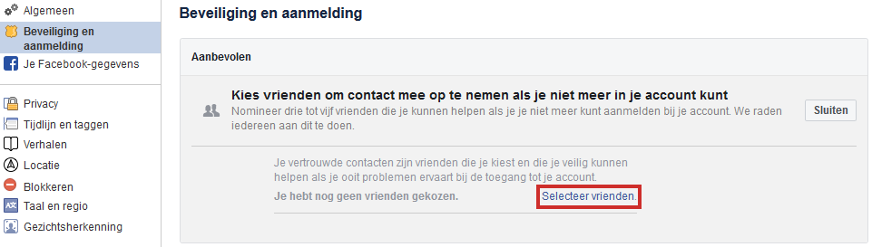 Facebook beveiligen door het instellen van vertrouwde contacten