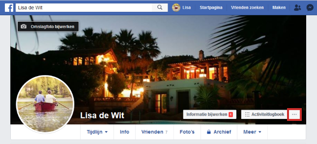 Menu Facebook-website