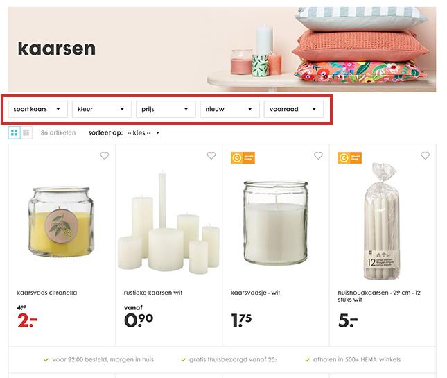 Filters bij producten op website HEMA