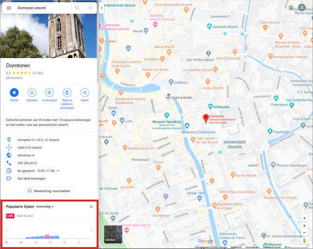 Drukte locatie bekijken via website Google Maps