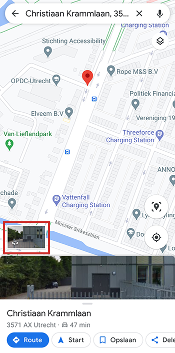 Street View-weergave in Google Maps