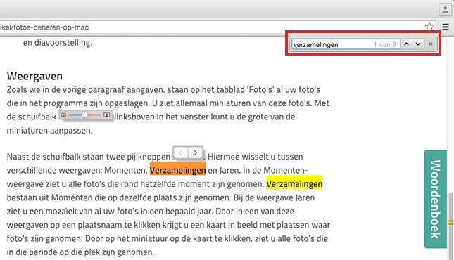 In Chrome een webpagina doorzoeken