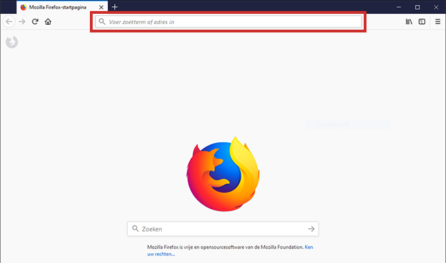 Website opzoeken in Firefox