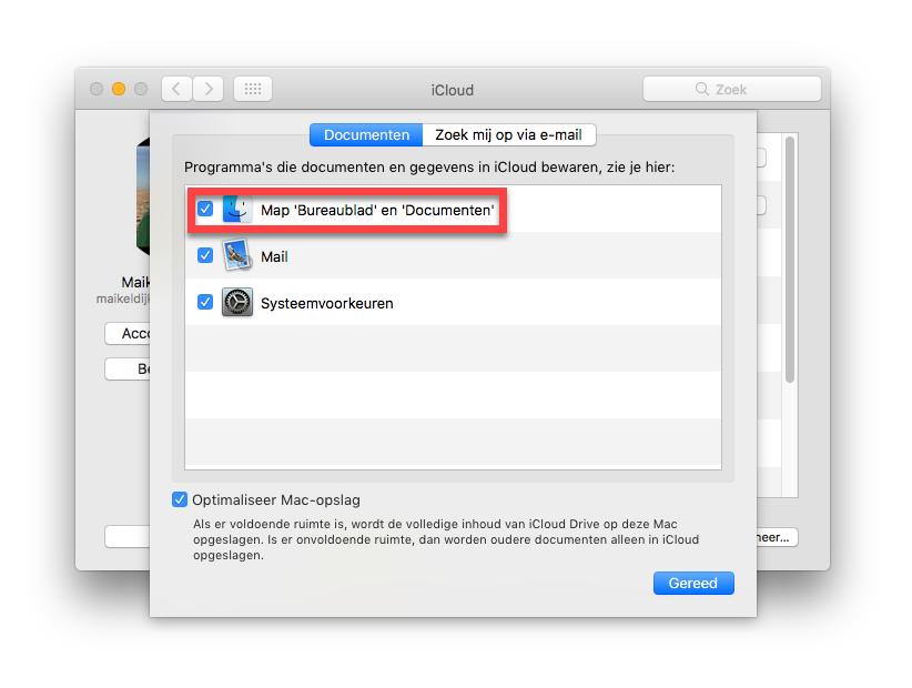 Synchroniseer de mappen Bureaublad en Documenten met iCloud Drive
