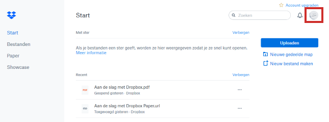 Opslagruimte op Dropbox bekijken