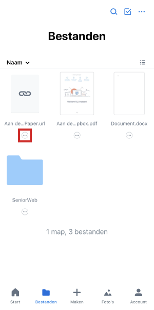 Pictogram menu onder bestandsnaam in Dropbox-app