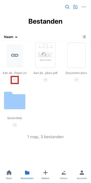 Pictogram menu onder bestandsnaam in Dropbox-app