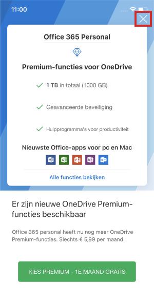 Inloggen op OneDrive-app iOS