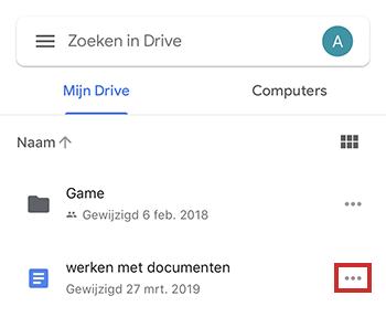 Menu van bestand in Google Drive-app iOS