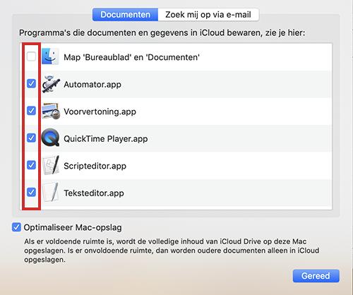 Welke gegevens in iCloud opslagen worden