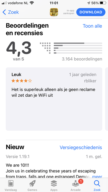 Recensies van een app