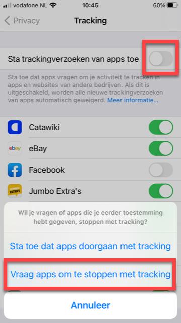 Spionagegedrag uitzetten op een iPhone