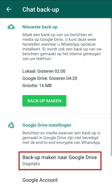 Back-up maken van WhatsApp naar Google Drive