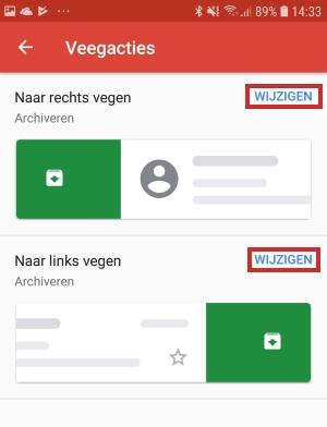 Instellingen veegacties wijzigen in Gmail-app