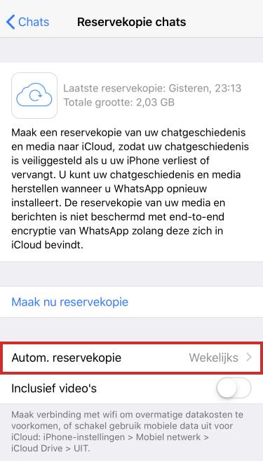 Automatische reservekopie WhatsApp op iPhone
