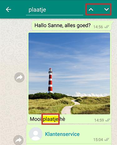 Zoeken binnen een WhatsApp-gesprek op Android-toestel